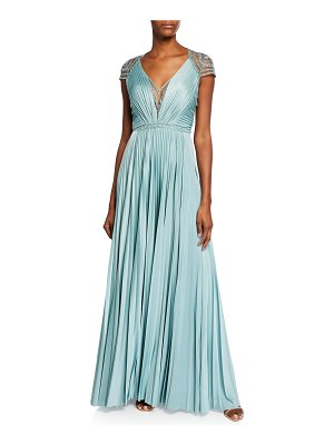 Catherine Deane Mary V-Neck Cap-Sleeve Pleated Jersey Gown w/ Beaded Embroidery