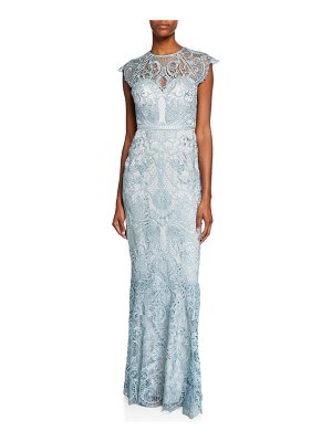 Catherine Deane Miracle Scallop Lace Cap-Sleeve Gown with Open-Back