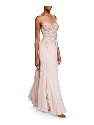 Catherine Deane Misha Sweetheart Illusion Sleeveless Silk Chiffon Gown w/ Applique Bodice