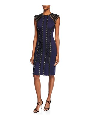 Catherine Deane Mya Tiered Cap-Sleeve Ponte Dress w/ Grosgrain Ribbon Lace-Up Front