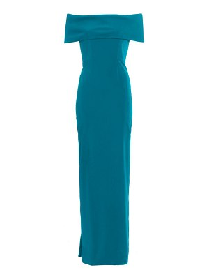 Catherine Regehr off-the-shoulder rolled techno crepe gown