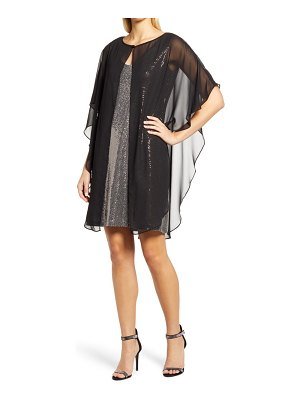 CAXLZ BY CONNECTED APPAREL lenny sequin cocktail dress with chiffon overlay