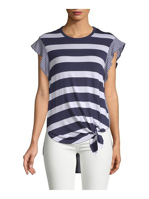 C&C California Striped Hi-Lo Short-Sleeve Top
