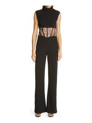 CDGNY BY CD GREENE marianne crystal embellished lace inset jumpsuit