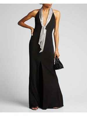 CDGNY Chainmail-Neck Column Gown