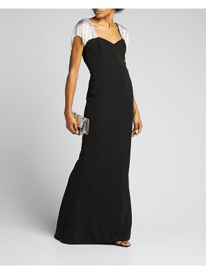 CDGNY Chainmail-Sleeve Crepe Column Gown