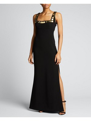 CDGNY Embellished Square-Neck Column Jersey Gown