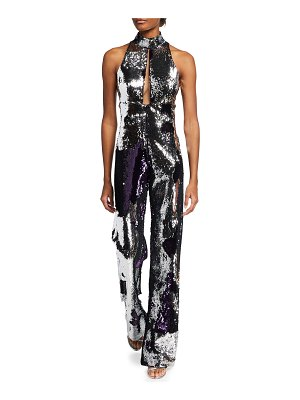 CDGNY Laure Sequined Cutout Jumpsuit