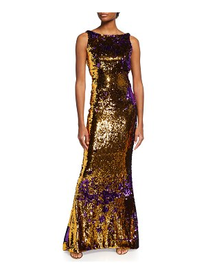 CDGNY Liz Sequined Draped-Back Mermaid Gown