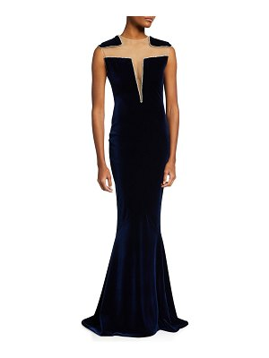 CDGNY Mallory Crystal-Embellished Illusion Velvet Gown