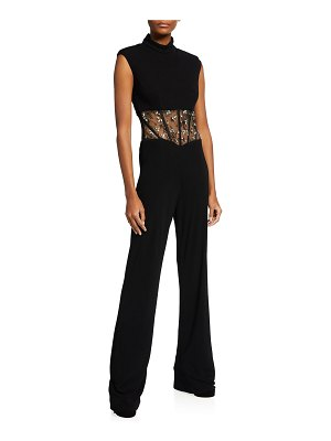 CDGNY Marianne Lace-Waist Jumpsuit