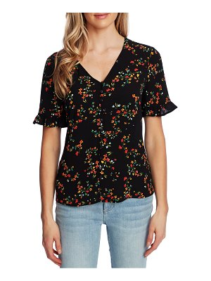CeCe by Cynthia Steffe blustery buds ruffle sleeve button front top