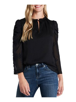 CeCe by Cynthia Steffe crinkle texture embroidered sleeve top