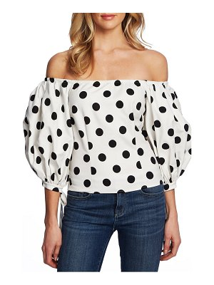 CeCe by Cynthia Steffe dappled dots off the shoulder stretch cotton blouse