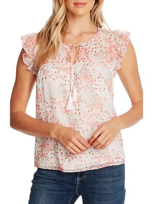 CeCe by Cynthia Steffe ditsy blossom flutter sleeve chiffon blouse