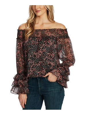 CeCe by Cynthia Steffe ditsy blossom off the shoulder chiffon blouse