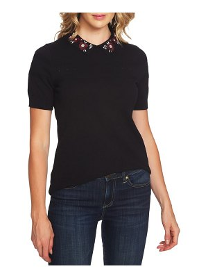 CeCe by Cynthia Steffe embellished collar pointelle detail sweater