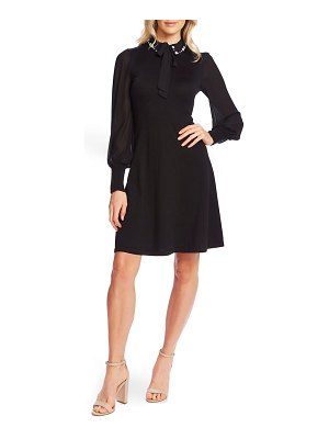 CeCe by Cynthia Steffe embellished collar tie neck long sleeve dress