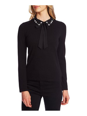 CeCe by Cynthia Steffe embellished collar tie neck sweater