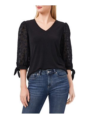 CeCe by Cynthia Steffe embroidered sleeve mixed media top