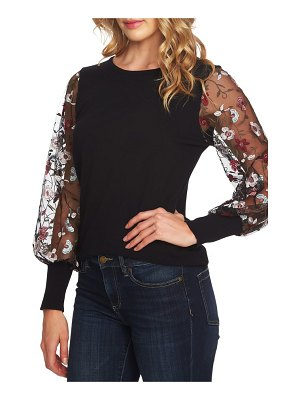CeCe by Cynthia Steffe embroidered sleeve sweater