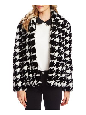 CeCe by Cynthia Steffe faux fur houndstooth jacket