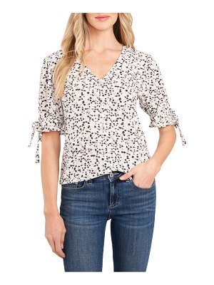 CeCe by Cynthia Steffe floral buds tie cuff button front top