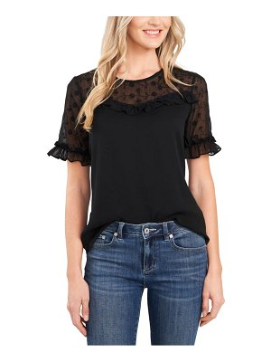 CeCe by Cynthia Steffe floral embroidered sheer yoke short sleeve blouse