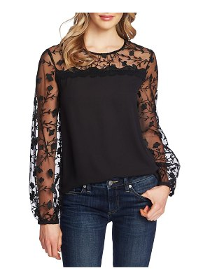 CeCe by Cynthia Steffe floral embroidery mixed media top