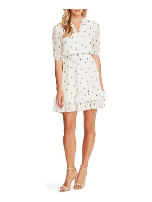 CeCe by Cynthia Steffe floral embroidery tie neck a-line dress