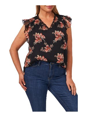 CeCe by Cynthia Steffe floral flutter sleeve blouse