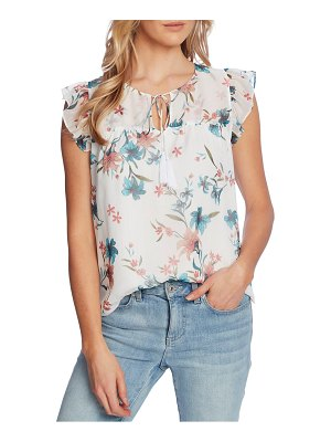 CeCe by Cynthia Steffe floral flutter sleeve top