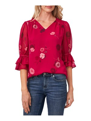 CeCe by Cynthia Steffe floral ruffle sleeve blouse