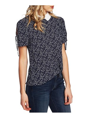 CeCe by Cynthia Steffe floral tie sleeve collared blouse