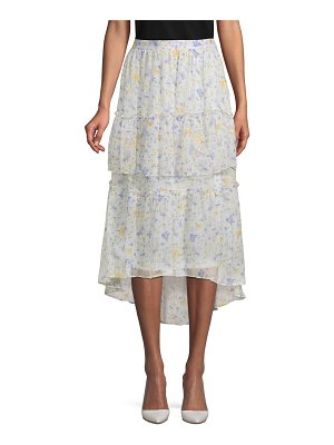 CeCe by Cynthia Steffe Floral Tiered High-Low Midi Skirt