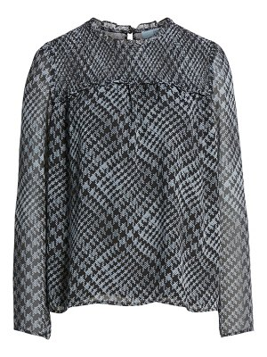 CeCe by Cynthia Steffe houndstooth smocked neck crepe blouse