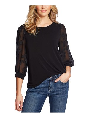 CeCe by Cynthia Steffe lace sleeve stretch crepe blouse