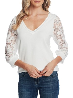 CeCe by Cynthia Steffe lace sleeve v-neck cotton sweater