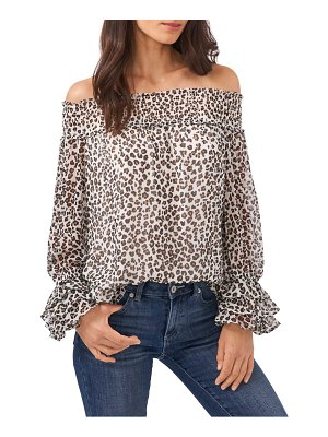 CeCe by Cynthia Steffe leopard print off the shoulder ruffle blouse