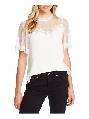 CeCe by Cynthia Steffe mixed media flocked dot & lace blouse