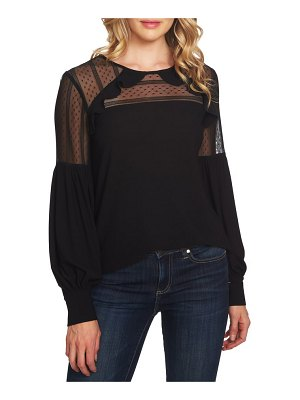 CeCe by Cynthia Steffe mixed media puff sleeve blouse