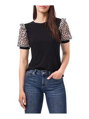 CeCe by Cynthia Steffe mixed media puff sleeve crepe t-shirt