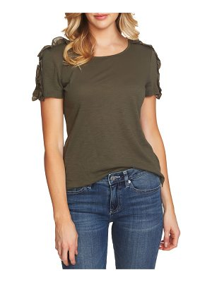 CeCe by Cynthia Steffe mixed media ruffle sleeve cotton blend tee