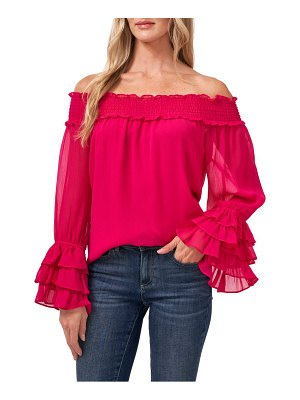 CeCe by Cynthia Steffe off the shoulder ruffle cuff blouse