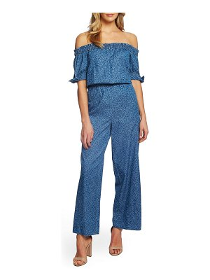 CeCe by Cynthia Steffe off the shoulder wide leg cotton jumpsuit