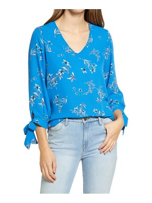 CeCe by Cynthia Steffe painterly bouquet tie sleeve blouse