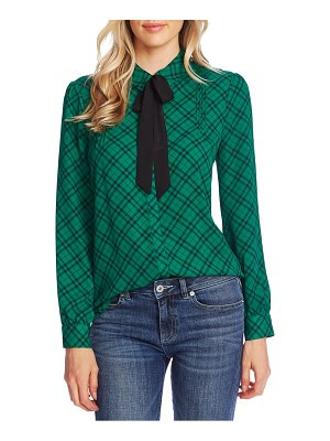CeCe by Cynthia Steffe plaid pintuck tie neck long sleeve blouse