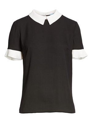CeCe by Cynthia Steffe pleat sleeve collared crepe blouse
