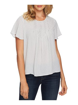 CeCe by Cynthia Steffe refined pin dot pintuck short sleeve blouse