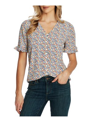 CeCe by Cynthia Steffe ruffle moroccan ditsy blouse